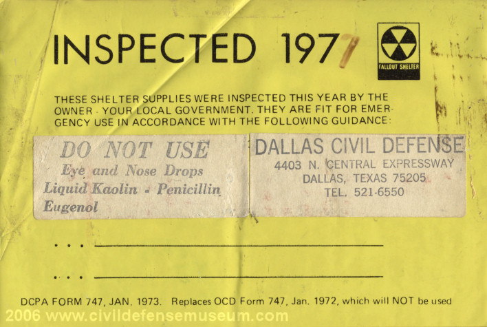 Civil Defense Museum-Community Fallout Shelter Supplies - Main Page