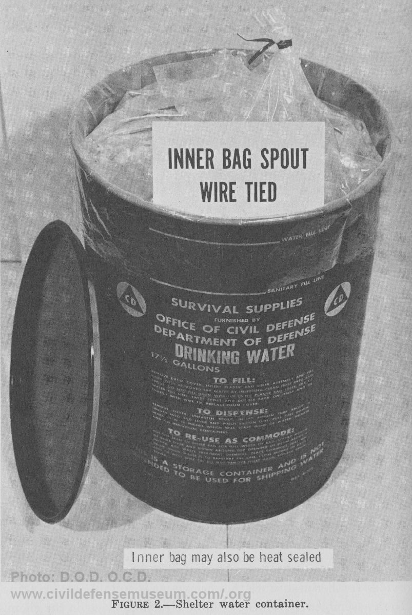 Civil Defense Museum Community Fallout Shelter Supplies Water Drums